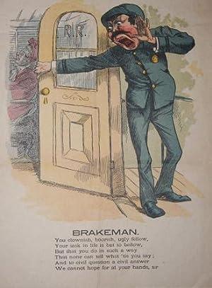"Humorous Mid-Nineteenth Century Vinegar Valentine ""Brakeman"""