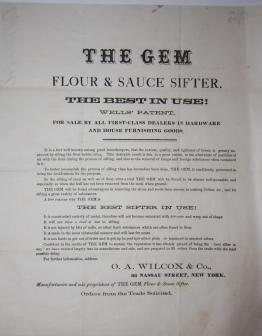 The Gem Flour & Sauce Sifter. The Best in Use! Wells' Patent. For Sale by All First-Class Dealers...