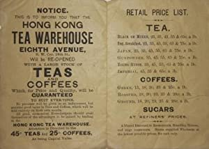 Advertisement for Hong Kong Tea Warehouse Eighth Avenue, N.W. Cor. 18th St., with two humorous ...