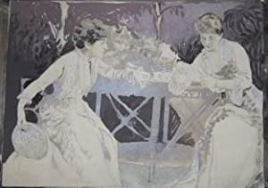 Painting, over a photograph, of Nineteenth Century Actresses Ada Rehan and Edith Kingdon