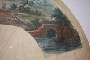 Eighteenth Century Gouache French Fan Design of a Bucolic Setting, with Peasants, a Peacock and ...