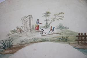 Eighteenth Century Gouache French Fan Design of a Bucolic Scene with a Peasant Woman Feeding ...