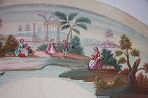 Eighteenth Century Gouache French Fan Design of a Bucolic Scene of Dancers, Two Young Women and a ...