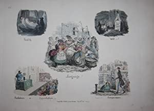 Four works by George Cruikshank bound together, including: (1) Phrenological Illustrations, or An ...