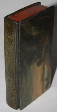 Faux Book] Paper Mache Box with Painting of Romantic Wooded Landscape, Mountains in Background, and...