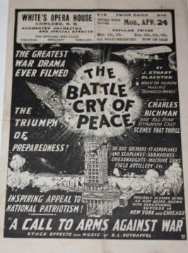 "Advertising Broadside/Brochure] The Battle Cry of Peace ""A Call to Arms Against War""..."
