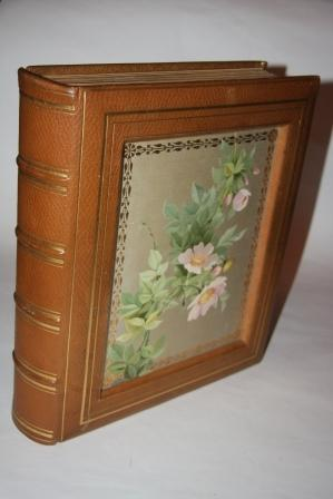 Photo Album with Sunken Inset Silk Panels with Chromolithographic Images of a Bluebird and Wild ...