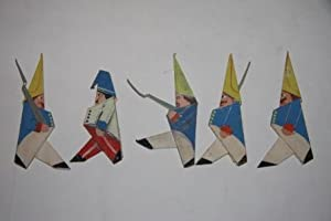 Charming group of hand-made and painted folk art origami figures, including fourteen soldiers, th...