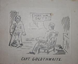 Group of 23 pen-and-ink satirical cartoons relating to training camp life during the First World ...