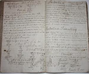 Math and Calligraphy Notebook Bound with Older Newspaper: Greenough, Richard [Richard Greenough ...