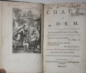 The Chace: A Poem; Bound with Hobbinol, or the Rural Games. A Burlesque Poem, in Blank Verse: ...