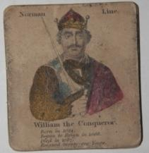 Deck of 35 hand-colored cards depicting English monarchs from William the Conqueror to William IV