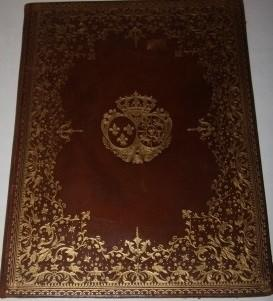 Ornate Leather Folio Album with Gilt Armorial Decoration and with Blank Leaves Within