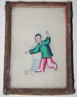 Box of Seven Chinese Watercolor Cards on Pith Paper Depicting Kites and Children Playing