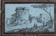 [Grand Tour Souvenir] Roma. 18th Century Miniature Leporello with Ten Views of Rome, mostly of ruins