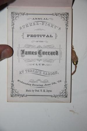 Victorian Dance Card] Annual Summer-Night's Festival of the James Everard Club, at Terrace ...