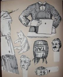 Album of Humorous Cut-Out Figures, Detailed with Penwork, And Some Movable