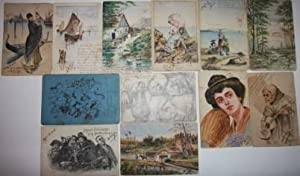 Collection of a Dozen Postcards Featuring Original Watercolors and Ink and Pencil Drawings