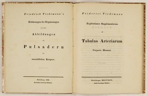Explicationes Supplementorum ad Tabulae Arteriarum Corporis Humani.: Tiedemann, Friedrich