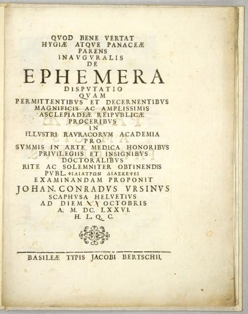 De Ephemera .: Ursinus, Johann Conrad