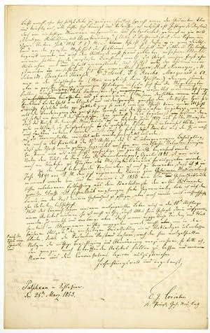 ALS - Eigenhändiger Brief mit Unterschrift. Autobiographischer: Lorinser, Carl Ignaz