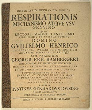 De respirationis mechanismo et usu genuino.: Hamberger, Georg Erhard: