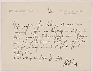 ALS - Eigenhändiger Brief mit Unterschrift.: Sippel, Albert -