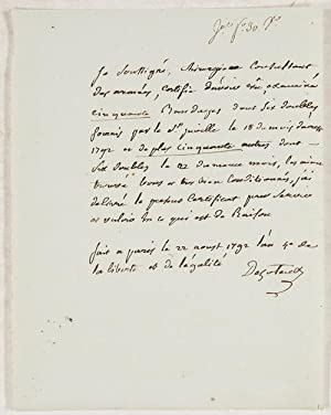 ADS - Eigenhändiges Schriftstück mit Unterschrift.: Dezoteux, Francois -