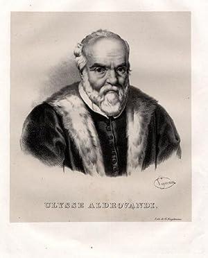 Portrait, Brustbild, Lithographie, 25.5 x 21 cm.: Aldrovandi, Ulisse =