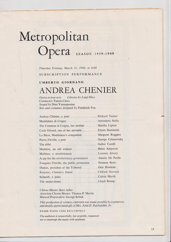 Metropolitan Opera Playbill Program Notes Season - Playbill program