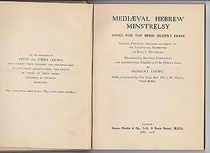 MEDIAEVAL HEBREW MINSTRELSY: SONGS FOR THE BRIDE QUEEN'S FEAST; SIXTEEN ZEMIROTH: Henriques, ...