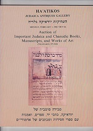 Ha'atikos Judaica Antiques Gallery February 1, 1988