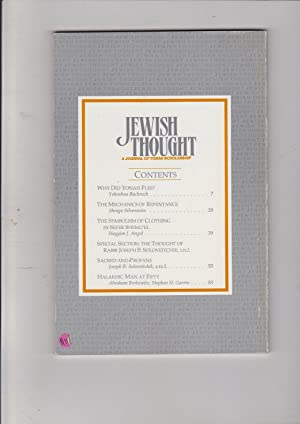 Jewish Thought a Journal of Torah Scholarship fall/winter 5754 vol. Volume 3, No. Number 1. ...