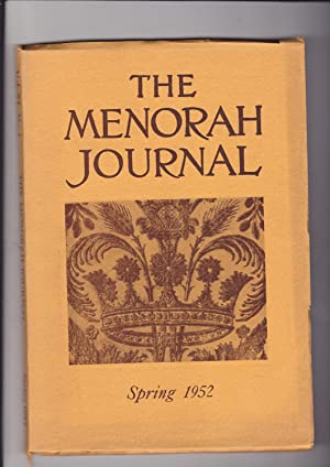 The Menorah Journal. Vol. Volume XL, No.: Hurwitz, Henry, Editor