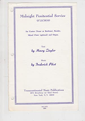 Midnight Penitential Service (S'lichos) for Cantor (Tenor: Ziegler, henry, text;