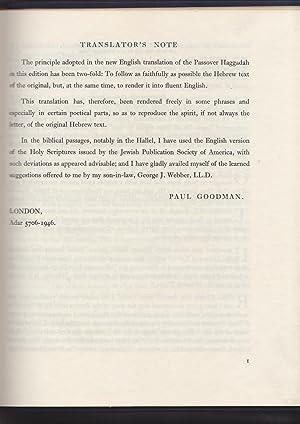 Passover Haggadah: Goldschmidt, Lazarus, edited by; Goodman, Paul, translation by