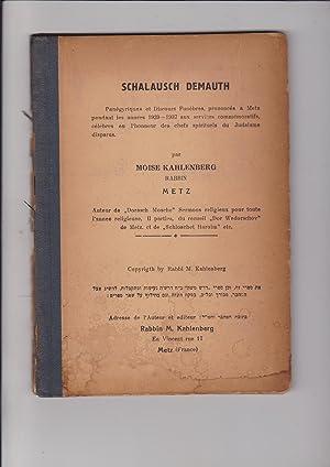 Schalausch Demauth Panegyriques et Discours Funebres, Prononces: Kahlenberg, Rabbi Moshe