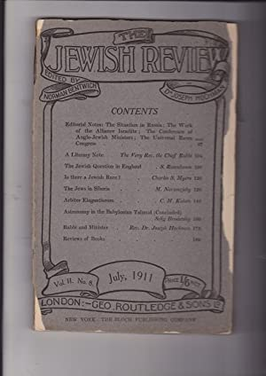 the Jewish Review. Vol. Volume II No.: Bentwich, Norman and