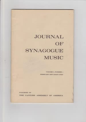 Journal of Synagogue Music. 14 Issues: Vol.: The Cantors Assembly