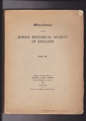 Miscellanies of the Jewish Historical Society of