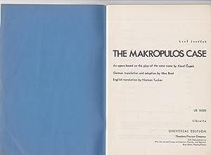 The Makropulos Case By Leos Janacek. Libretto: libretto, opera] Janacek, Leon, Music by; Tucker, ...