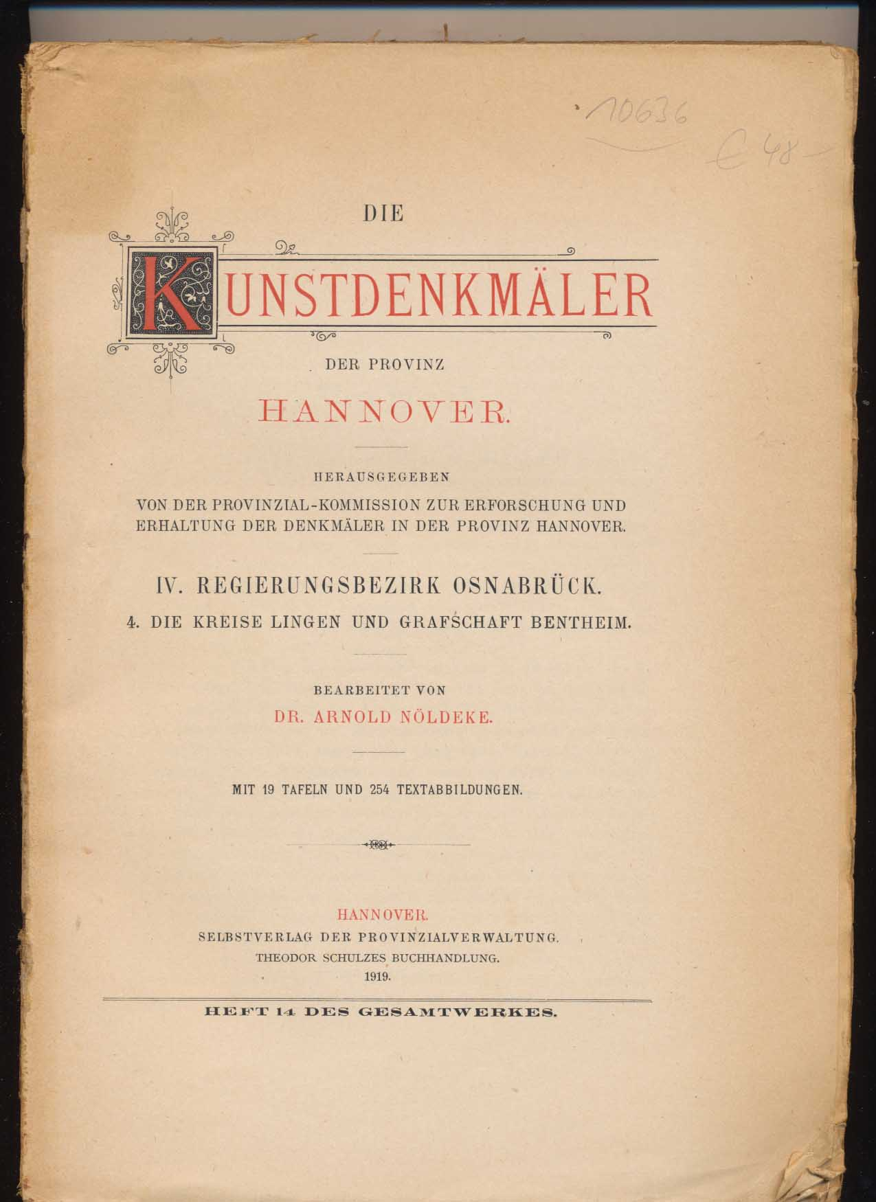 Die Kunstdenkmäler der Provinz Hannover. Band IV: Nöldeke, Arnold: