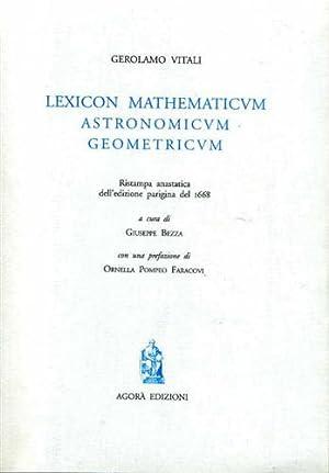 Lexicon Mathematicum Astronomicum Geometricum. Alcune voci dall'indice: Vitali,Girolamo.