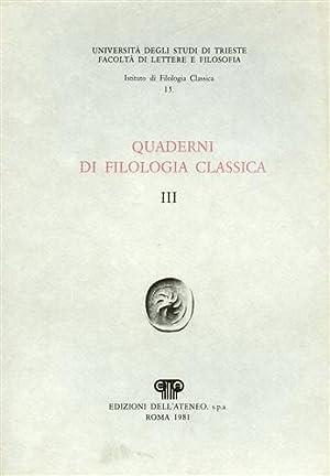 Quaderni di filologia classica.n.3.: Pellizer,E. Tedeschi,G. Giannotti,G.F.
