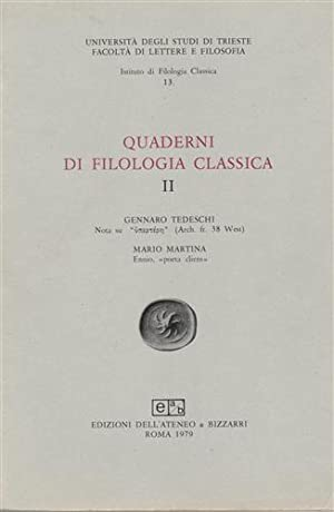 Quaderni di filologia classica.n.2.: Tedeschi,G. Martina,M.