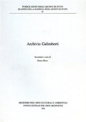 Archivio Galimberti. Inventario.: Mana,Emma. (a cura di).
