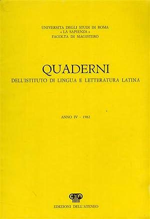 Quaderni dell'Istituto di lingua e letteratura latina,4.