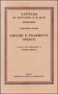 Liriche e frammenti inediti.: Poerio,Alessandro.