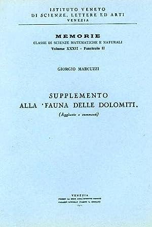 """Supplemento alla """"Fauna delle Dolomiti"""". Aggiunte e: Marcuzzi,Giorgio."""