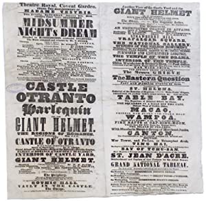 Theatre Royal, Covent Garden. Under the Management: Mixed Playbill. Walpole,